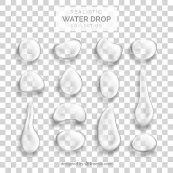Water drops collection in realistic style