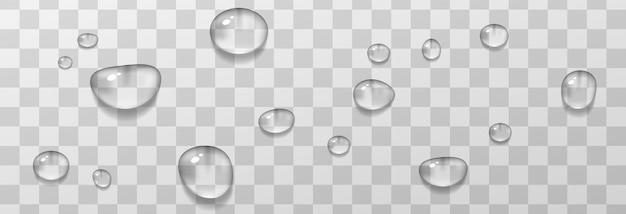 물방울. 방울, 표면에 결로. 현실적인 방울은 투명합니다.