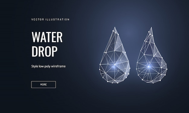 Water drops in polygonal wireframe style