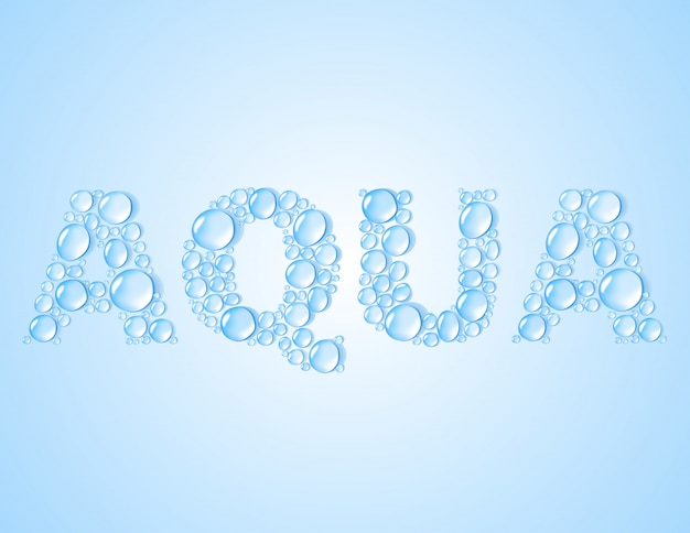 Water drops shaped word aqua