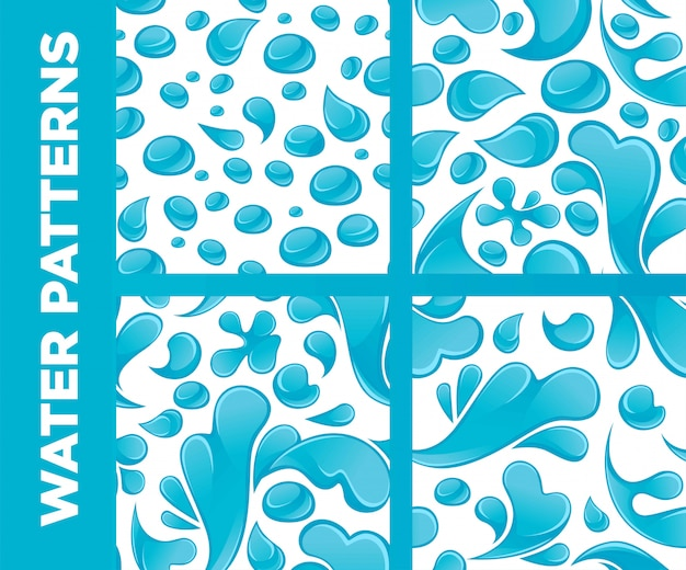 Water drops and splashes vector seamless patterns set