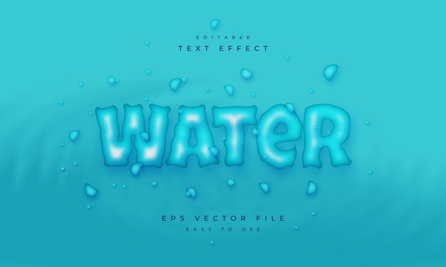 Water editable text effect on blue background with water drop