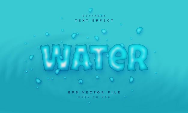 Редактируемый текстовый эффект на синем фоне с каплей воды