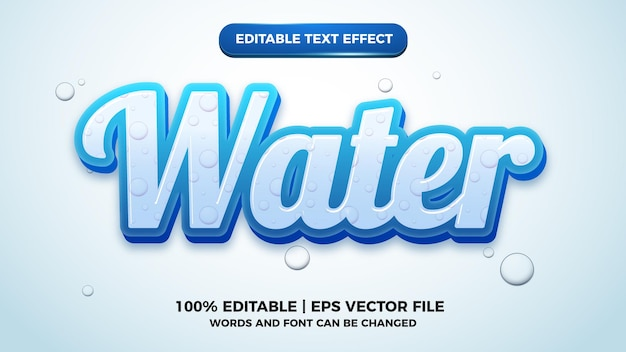 Water editable text effect style template