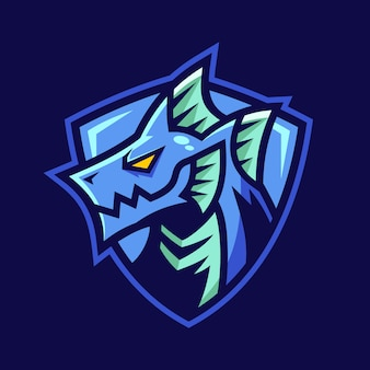 水要素ドラゴンファンタジーのロゴデザイン