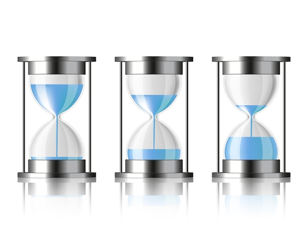 Water falling in the hourglass in three different states