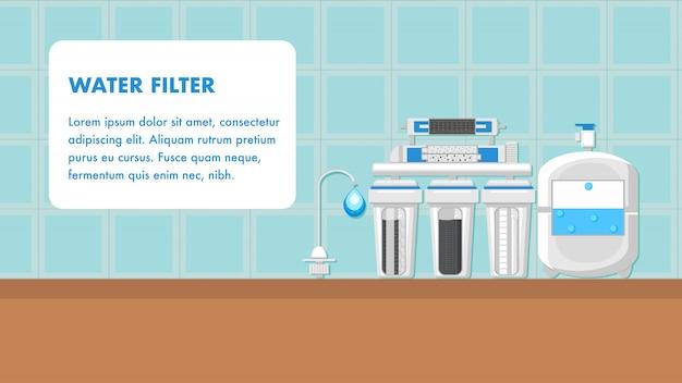 Фильтр воды баннер векторный макет с пространством для текста