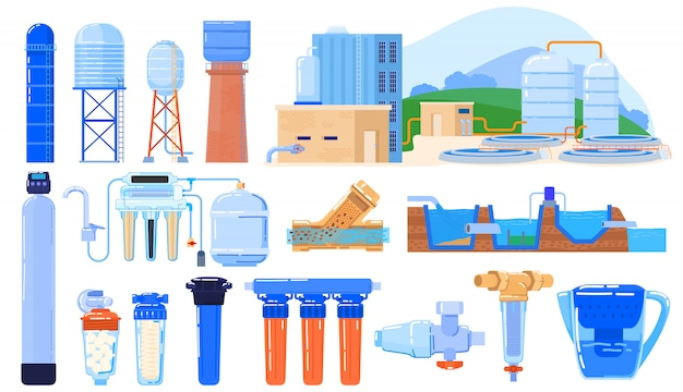 Water filter industry set  on white, purification system engineering,  illustration