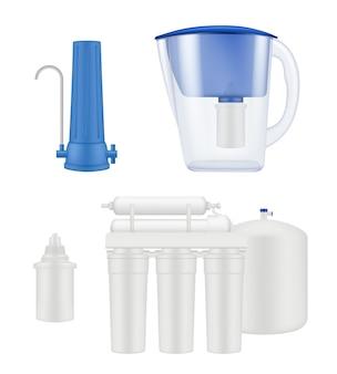 물 필터. 주방 처리 물 정화 액체 여과 시스템 벡터 현실적인 템플릿입니다. 정화를 위한 그림 물 냉각기 장비