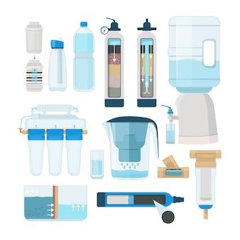 Фильтрация воды. домашний охладитель и системы для обработки воды, отстойники, объекты сбора стоков векторные изображения. охладитель воды системы фильтрации, иллюстрация процесса очистки