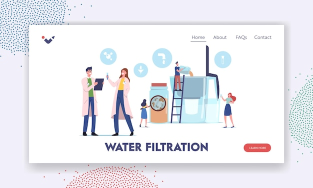 Water filtration landing page template. tiny characters pouring dirty water in huge aqua filter jug for cleaning liquid for drinking, scientist look in test tube. cartoon people vector illustration
