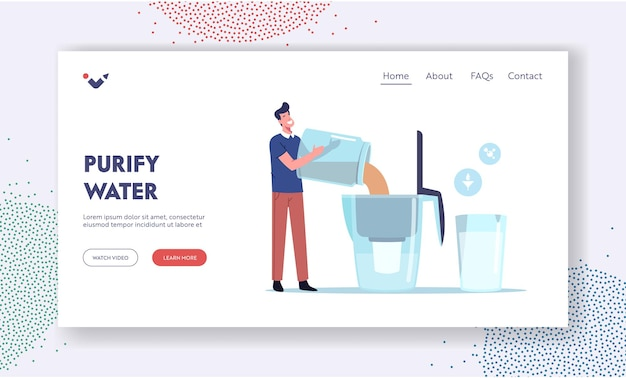 Water filtration landing page template.tiny male character pouring dirty brown water in huge aqua filter jug for cleaning liquid for drinking, pure water in glass nearby. cartoon vector illustration
