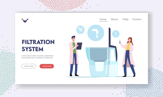 Water filtration, purification landing page template. tiny scientists characters learn water in test tube near huge aqua filter jug, people cleaning liquid for drinking. cartoon vector illustration