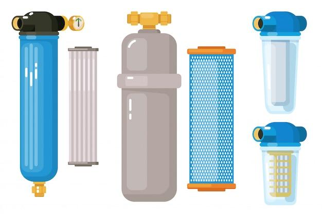 Комплект для фильтрации воды на белом фоне