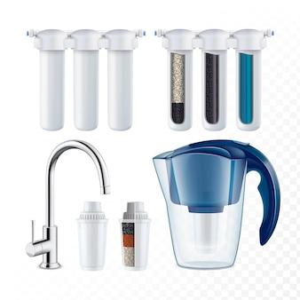 Система фильтрации воды и оборудование набор векторных