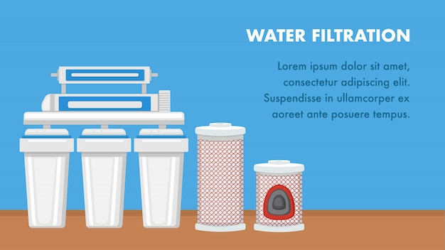 Water filtration  web banner with text space