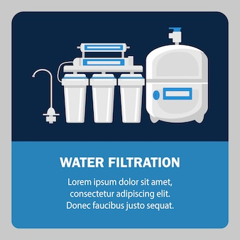 Water filtration website banner vector template.