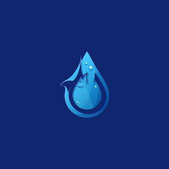 Удивительный логотип water fishing premium