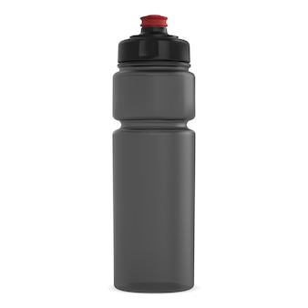 Water flask mockup. plastic container for fitness energy drink. cycling equipment cylinder tin with cap.
