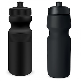 Water flask set. sport bottle mockup. protein can