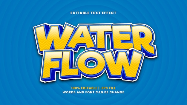 Water flow editable text effect in modern 3d style