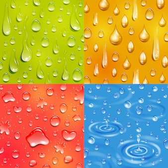 물방울이 둥글고 길쭉한 모양의 색상 사각형 배너 세트