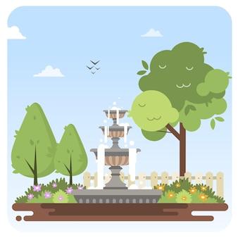噴水ガーデン花イラスト風景青空背景