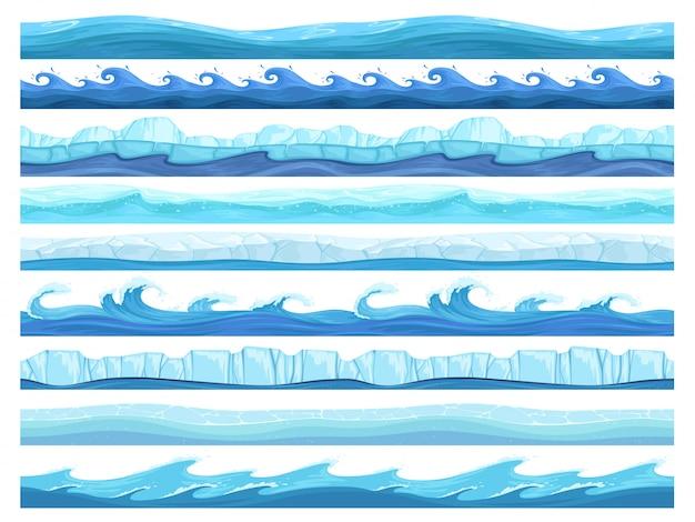 Водная игра бесшовная. ледяной океан морских или речных слоев параллакса готовая коллекция пользовательского интерфейса для игр