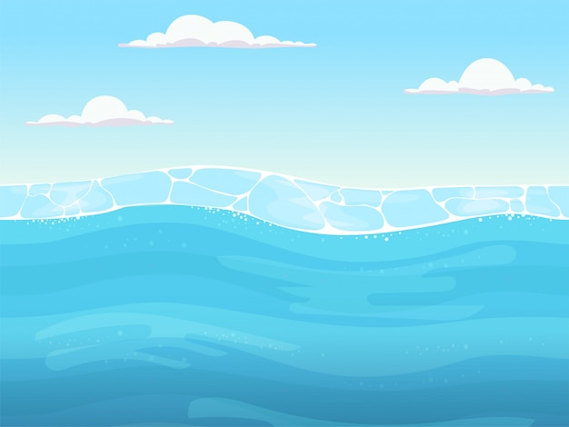 원활한 물 게임. 파도와 2d 게임 디자이너 바다 강이나 바다에 대한 액체 파란색 표면 배경