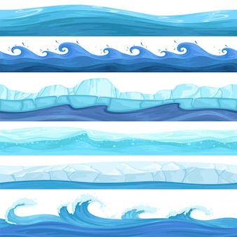 Water game set. surface liquid ocean river waves bubbles underwater