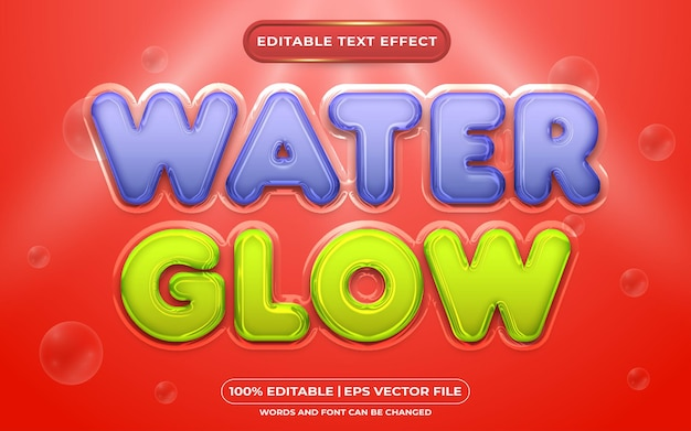 Water glow editable text effect liquid style