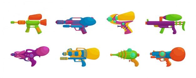 水銃漫画は、アイコンを設定します。孤立した漫画アイコン水ピストル。白い背景の上の図watergun。