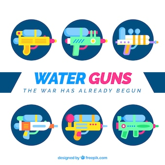 Water guns collection in flat style