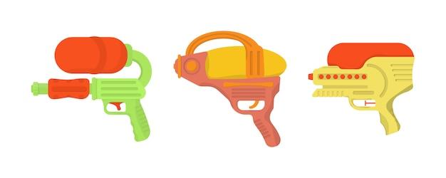 白い背景で隔離の水鉄砲。子供のための武器のおもちゃ。楽しい子供のための漫画おもちゃの水鉄砲のセットです。明るいマルチカラーの子供のアイコン。