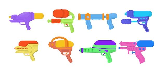 Водяные пистолеты, изолированные на белом фоне. оружие игрушки для детей. набор мультяшных игрушек водяных пистолетов для веселых детей. яркие разноцветные детские иконки.