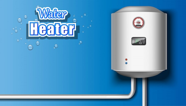 Water heater on blue background.