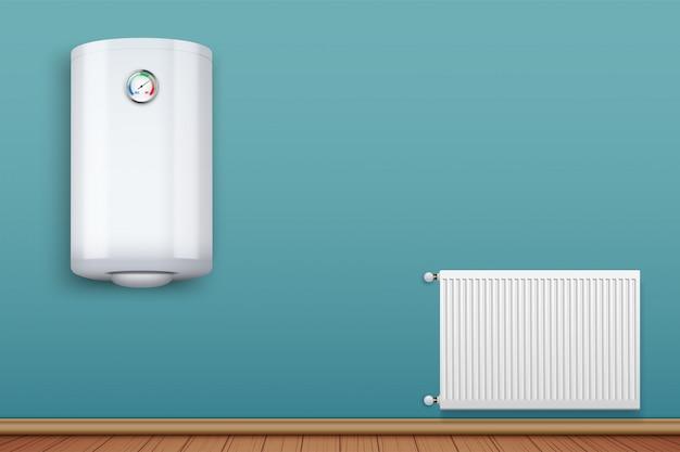 Water heater boiler on wall and metal heating radiator in room.