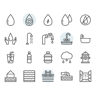 Water icon and symbol set in outline