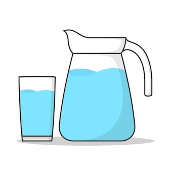 ガラスと水差しの水は白で隔離