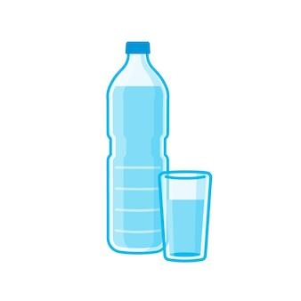 Вода в пластиковых бутылках и стаканах