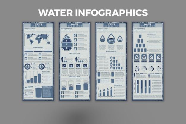 水のインフォグラフィックデザインテンプレート
