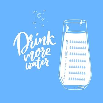 Еженедельный план счетчика потребления воды контрольный список для восьми стаканов пейте больше воды рукописный текст