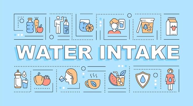 Баннер концепции слова забора воды. уровень жидкости в организме. ежедневное увлажнение. инфографика с линейными значками на синем фоне. изолированная творческая типография. векторная иллюстрация цвета наброски с текстом