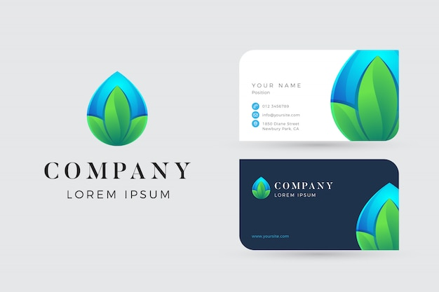 Water leaf logo and business cards