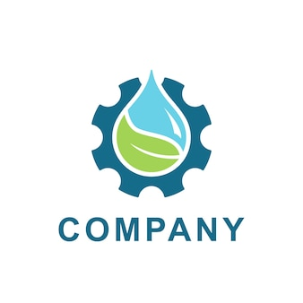 Water, leaf with gear logo design vector. illustration of fresh water and gear cog for energy ecology and industrial company