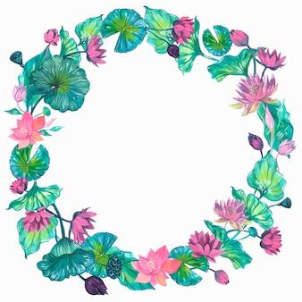 睡蓮、花のフレーム。水彩イラスト。分離された要素をベクトルします。