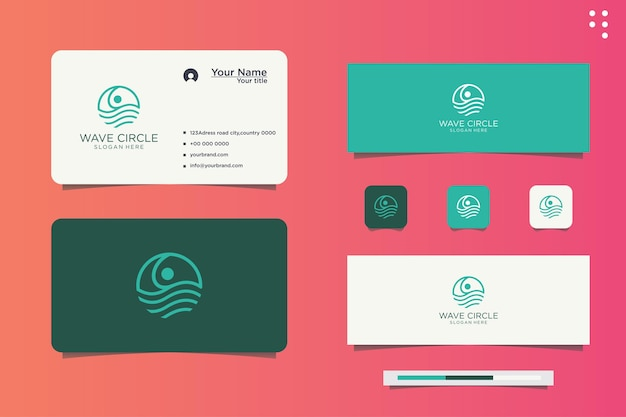 Water line company circle wave logo design and business card