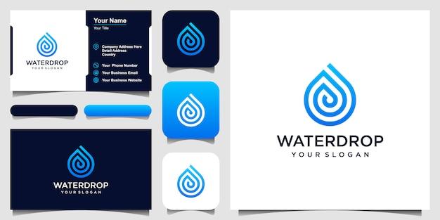 ウォーターライン。モバイルコンセプトとwebのラインアートスタイルの液滴。名刺デザイン