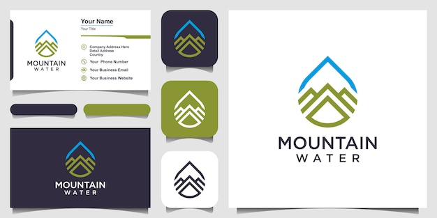 Water logo design combined with mountain line art style and business card design