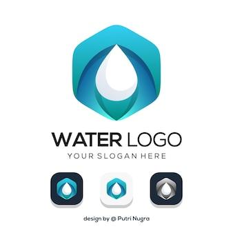白で隔離の水のロゴのデザイン
